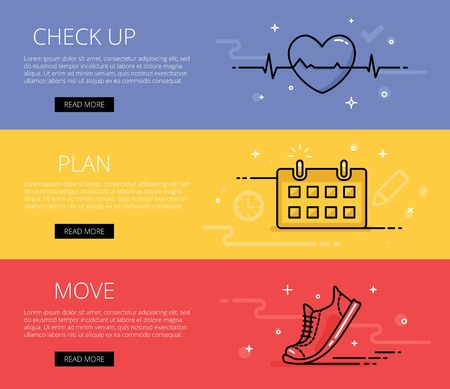 literacy: Linear fitness literacy web banners set. Line ecg heart, training calendar, sneaker. Design set of graphic outline banners illustration Illustration