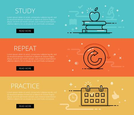 practice: Linear learning web banners set. Line books pillars, apple fruit, repeat arrow, practice calendar. Design set of graphic outline banners illustration