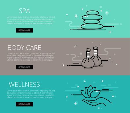 stone massage: Linear relaxing web banners set. Line spa, herbal bags massage, stone massage, lotus and hand. Design set of graphic outline banners illustration
