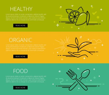 tints: Linear organic food web banners set. Line lemon, leaves in hand, spoon and fork. Design set of graphic outline banners illustration