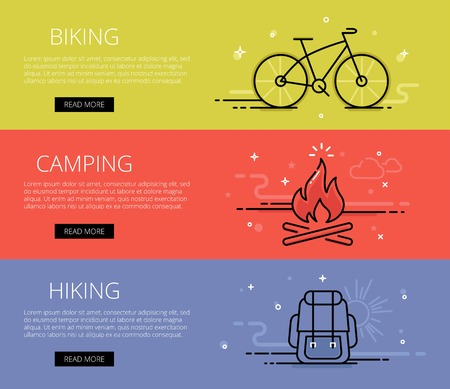 open air: Linear open air web banners set. Line bike, campfire, backpack, sun and clouds. Design set of graphic outline banners illustration