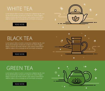 black tea: Tea types web banners set. Line white tea, black tea, green tea, teapots and tea glass. Design set of graphic outline banners illustration