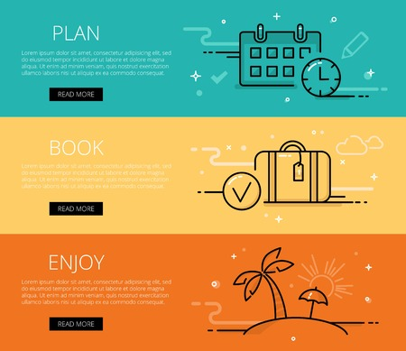 scheduler: Linear travel web banners set. Line scheduler, watch, luggage, island, umbrella and palm. Design set of graphic outline banners illustration