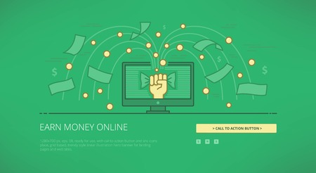 earn money: Earn money online modern line illustration for web banners, web sites and landing pages with call to action button.