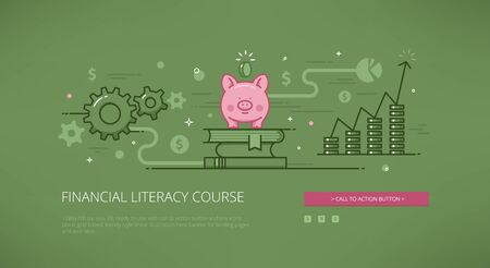 literacy: Financial literacy course modern line illustration for web banners, web sites and landing pages with call to action button.