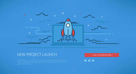 landing: Startup modern line illustration for web banners, web sites and landing pages with call to action button.