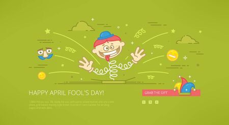 Fool day april holiday modern line illustration for web banners, web sites and landing pages with call to action button.