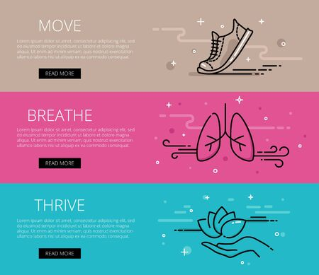 thrive: Linear fitness and yoga web banners set. Line sneaker, lungs, lotus and hand. Illustration