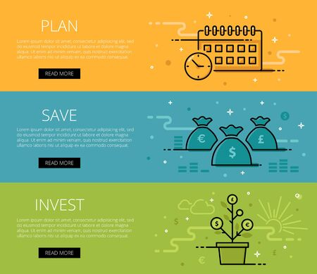 Linear financial web banners set. Line plan, watch, money bags, money tree, coins, currency symbol, money sign. Design set of graphic outline banners illustration Ilustração