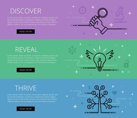 thrive: Discover. Reveal. Thrive. Web banners set. Hand with search lens, bulb idea, money tree, unlock and unpack. Design set of graphic outline banners illustration