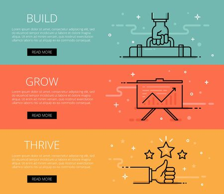 thrive: Build. Grow. Thrive. Web banners set. Hand with briefcase, chart, thumb up, shiny stars. Design set of graphic outline banners illustration
