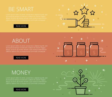 personal finance: Linear personal finance web banners set. Line thumb up, shiny stars, money jars and money tree. Design set of graphic outline banners illustration