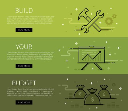 money bags: Linear financial web banners set. Line hammer and wrench, cogs, chart, money bags and money piles. Design set of graphic outline banners illustration Illustration