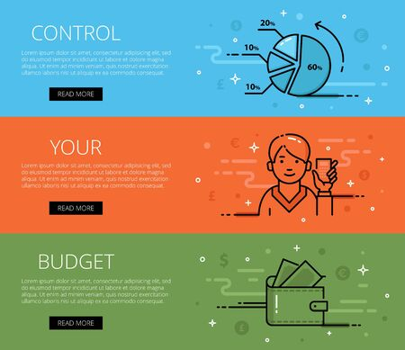 personal finance: Linear personal finance web banners set. Line diagram, man avatar with calculator, purse and banknotes. Design set of graphic outline banners illustration Illustration