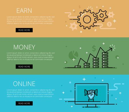 tints: Linear financial web set. Line cogs, money piles, coins, currency symbol, computer, hand with cash. Design set of graphic outline banners illustration Illustration