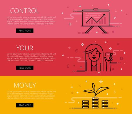 personal finance: Linear personal finance web banners set. Line diagram, woman avatar with calculator, money tree and money piles. Design set of graphic outline banners illustration Illustration