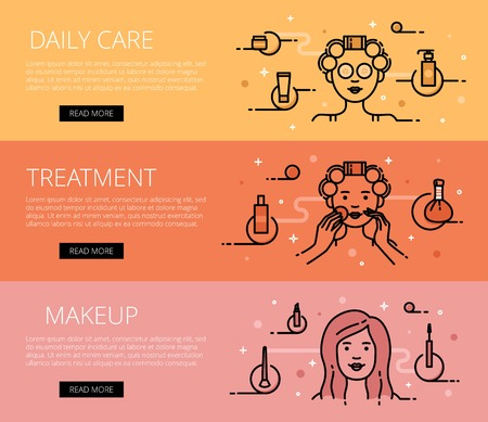 woman face cream: Linear beauty and health web banners set. Line daily care stuff, skin treatment and cosmetics. Design set of graphic outline banners illustration