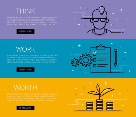 Linear financial web banners set. Line stylish man face in glasses with electric lightbulb, cogs, paper clip with list, pencil, money piles and sprout. Design set of graphic outline banners illustration