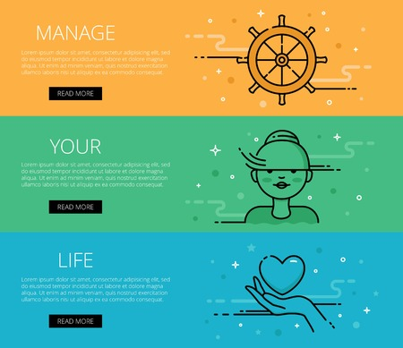 Linear life style web banners set. Flat line woman, hand with heart and helm. Design set of graphic outline banners illustration