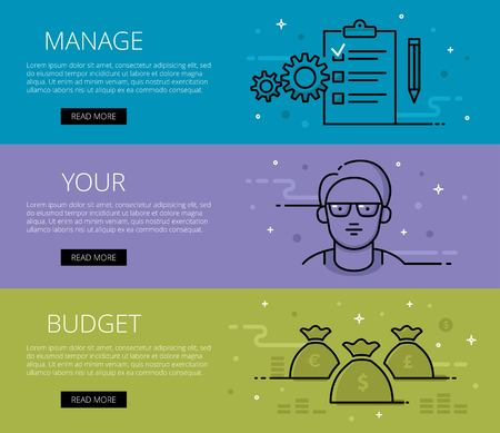 tints: Linear financial web banners set. Flat line cogs, man avatar in glasses, paper clip, pencil, money bags and stack of money. Design set of graphic outline banners illustration