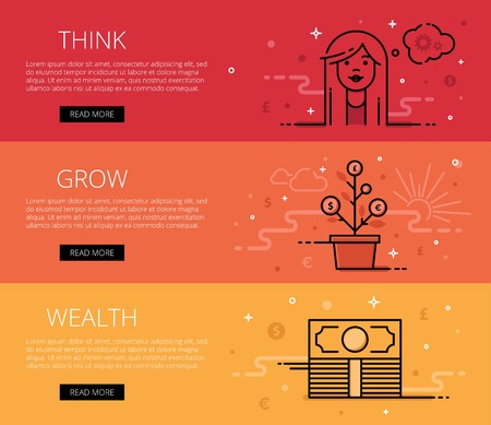 thinking cloud: Linear financial web banners set. Line stylish woman face, thinking cloud with cogs, bundle of money, money tree and money symbols. Design set of graphic outline banners illustration