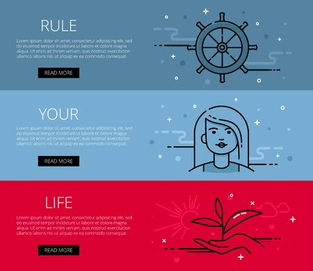 life style: Linear life style web banners set. Flat line woman, hand with sprout, helm, sun and clouds. Design set of graphic outline banners illustration Illustration