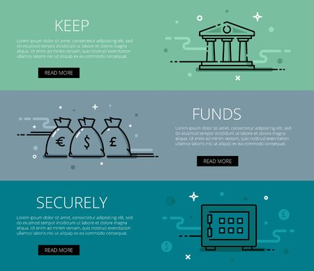 money bags: Linear financial web banners set. Line bank icon, money bags and safe. Design set of graphic outline banners illustration Illustration