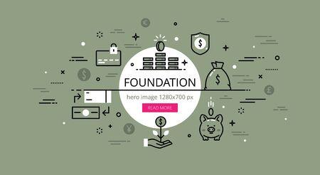 piggy bank money: Linear financial web banner image. Line flat credit card, piggy bank, money bag and exchange. Illustration