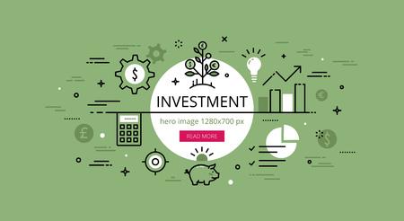 piggy bank money: Linear financial web banner image. Line flat money gears, piggy bank, money tree and calculator.