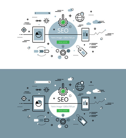 optimisation: Set of trendy illustration concepts of search engine optimisation. Line flat design banners for websites and apps with call to action button, ready to use Illustration