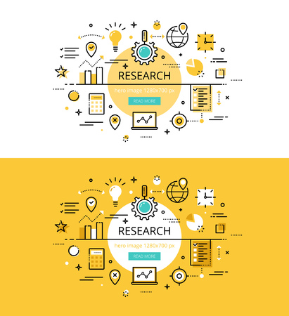 exploratory: Set of modern illustration concepts of market research. Line flat design banners for websites and apps with call to action button, ready to use