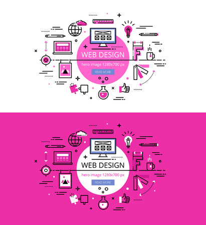 Set of modern illustration concepts of web design process. Line flat design hero banners for websites and apps with call to action button, ready to use Illustration