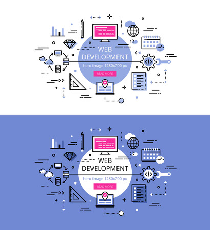 computer system: Set of modern illustration concepts of web development. Line flat design banners for websites and apps with call to action button, ready to use