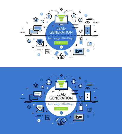 Set of modern illustration concepts of creating leads. Line flat design banners for websites and apps with call to action button, ready to use