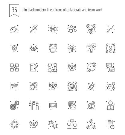 mutual help: Trendy web and apps line icons set of cooperate and teamwork. Different team work symbols and objects