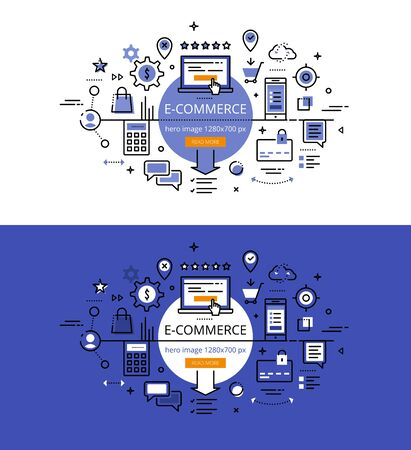 Set of modern illustration concepts of electronic commerce. Line flat design for websites and apps with call to action button, ready to use