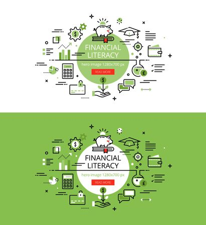 Set of modern illustration concepts of financial literacy. Line flat design  for websites and apps with call to action button, ready to use