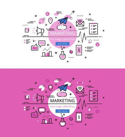action hero: Set of modern illustration concepts of marketing. Line flat design hero for websites and apps with call to action button, ready to use Illustration