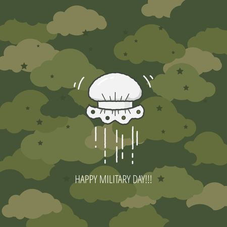 bonnet: Military Day Celebration flat design template for greeting cards, posters . Linear lace bonnet in the air on khaki camouflage color background