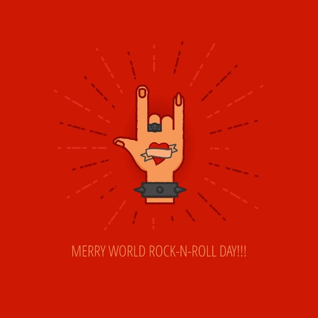 wristband: World Rock-n-Roll Day Celebration flat design template for greeting cards, posters and banners. Linear musicans hand with tattoo in rivet wristband on red color background