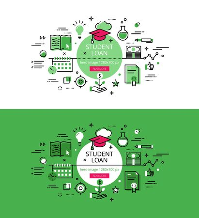 student loan: Set of modern illustration concepts of student loan. Line flat design for websites and apps with call to action button, ready to use Illustration