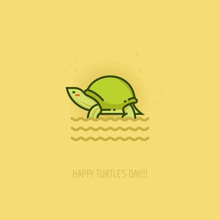 cheeks: World Turtle Day Celebration flat design template for greeting cards, posters and banners. Linear color pond slider turtle on sand color background