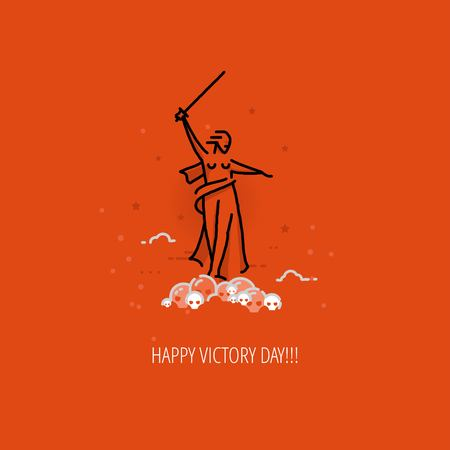 mound: Victory Day Celebration flat design template for greeting cards, posters. Linear monument standing on skulls mound on orange color background