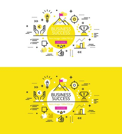 Conjunto de ilustración modernos conceptos de éxito del negocio lograr Ilustración de vector