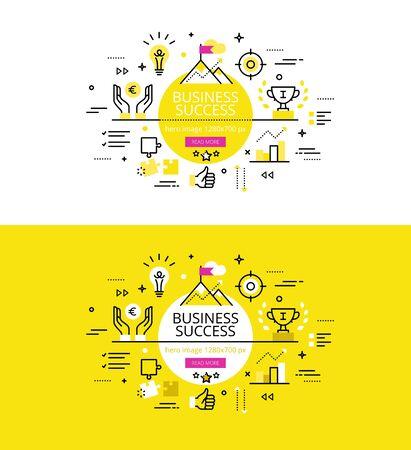 Set van moderne illustratie concept van zakelijk succes bereiken Vector Illustratie
