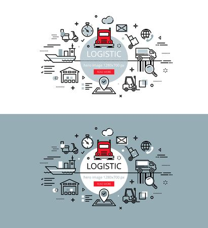 cargo vessel: Set of modern illustration concepts of logistic and delivery Illustration
