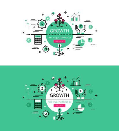 Conjunto de conceptos modernos de ilustración de la creciente negocio