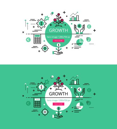 Set of modern illustration concepts of growing business