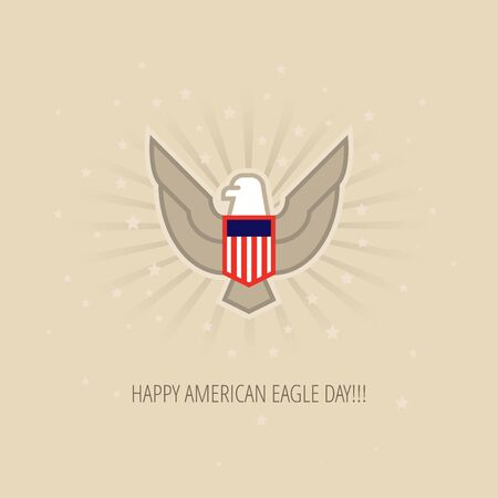 20th: American Eagle Day Celebration flat design template for greeting cards, posters and banners