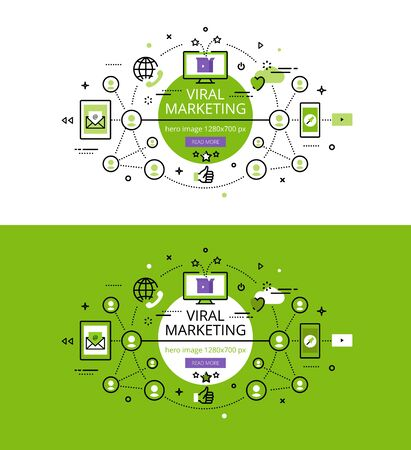 viral marketing: Set of modern illustration concepts of viral marketing
